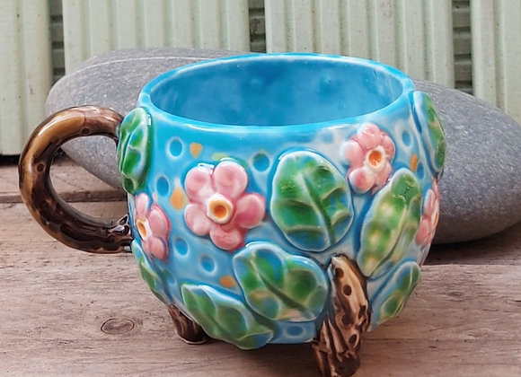 Ceramic Cup on Three Feet with Cherry Blossom Design