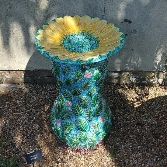 Sunflower Bird Bath at Borde Hill Garden