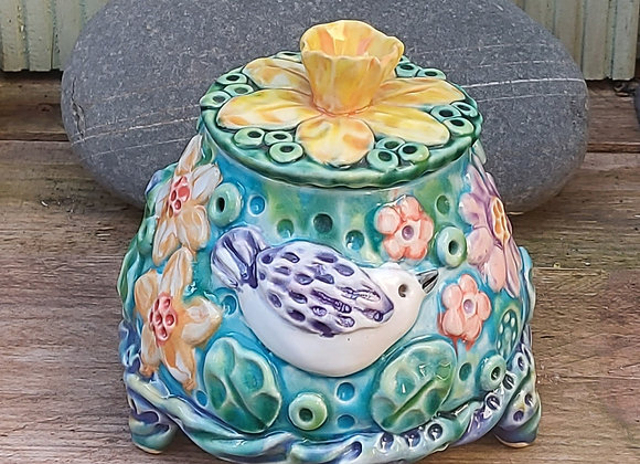 Large Lidded Jar with Bird and Spring Flowers