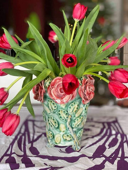 Rose Vase with Tulips. SOLD.