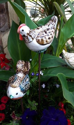 Ceramic Birds on Stems.