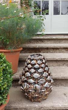 Brown Stoneware Pinecone Garden Sculpture by Renee Kilburn Ceramics