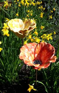 Small Orange and Yellow Ceramic Garden Flowers Poppies by Renee Kilburn Ceramics, 55 cm tall