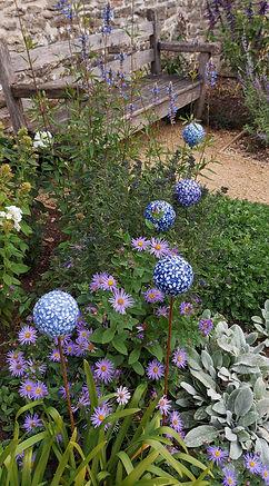 Blue Agapanthus Ceramic Garden Flower Sc