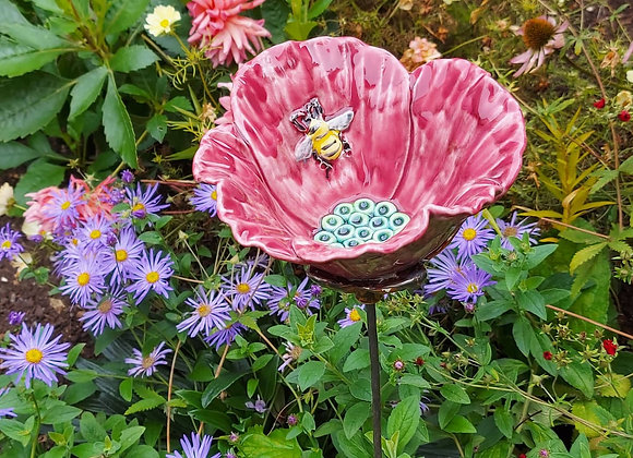 Large Pink Ceramic Poppy with Bee