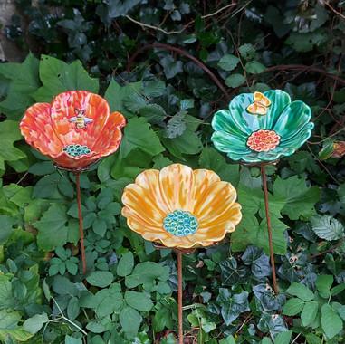 Renee Kilburn Ceramics Water Collecting Flowers. 80-85 cm tall.