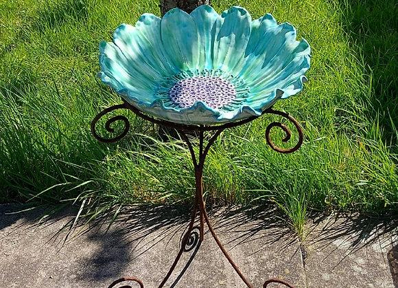 Blue Green Flower Bird Bath on Iron Base