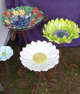 Ceramic Flower Bird Baths on Iron Bases by Renee Kilburn Ceramics
