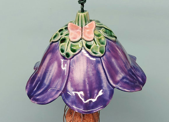 Hanging Purple Flower Bird Feeder with Pink Butterfly