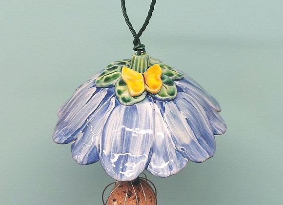 Light Blue Bird Feeder with Yellow Butterfly