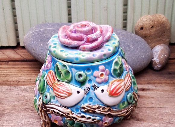 Lidded Jar with Love Birds in Cherry Blossom Tree
