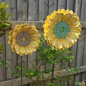 Renee Kilburn Ceramics Sunflower Sculptu