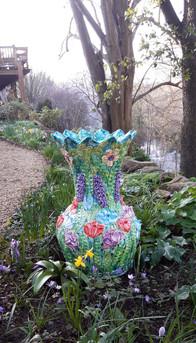 Nature's Bounty Stoneware Garden Sculpture with Spring Flowers by Renee Kilburn Ceramics