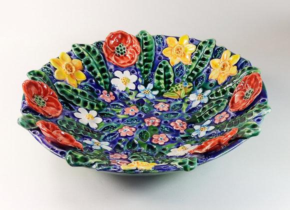 XL Ceramic Bowl with Spring Motif.