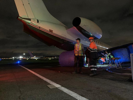 BCG Aircraft performs recovery of business jet at Le Bourget, Paris.