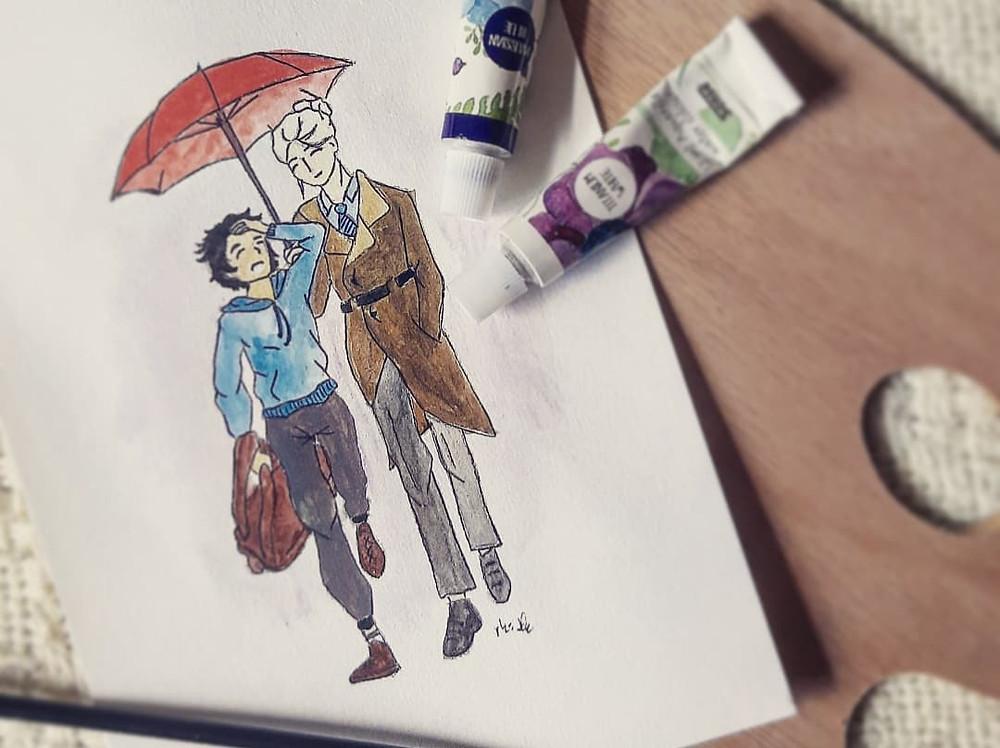 Billede af Caden og Luan fra Arvingen malet i vandfarve...