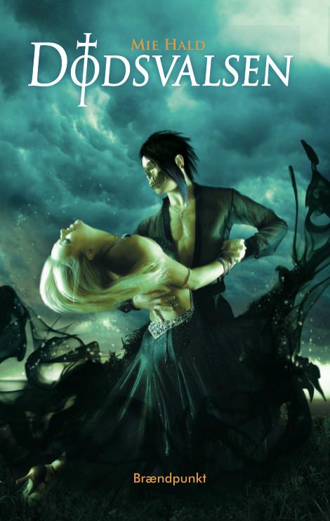 Forside på Dødsvalsen - en blond kvinde danser med en mand med et kranieansigt.