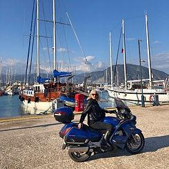 Biker woman in a harbour.jpg