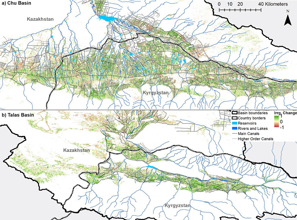 Change in irrigation occurence from 2000-2005 to 2011-2016 in the Chu-Talas River Basin in Central Asia