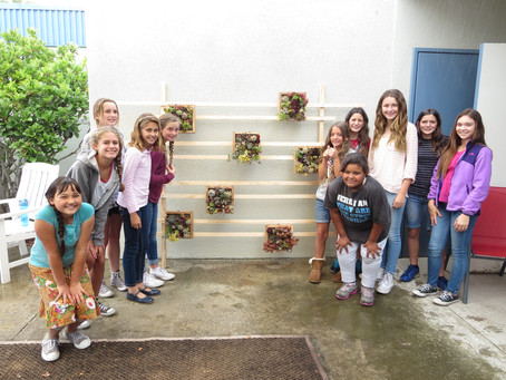"6th Grade Girl Scouts Honor Muirlands Teachers and Staff with ""Living Wall"""