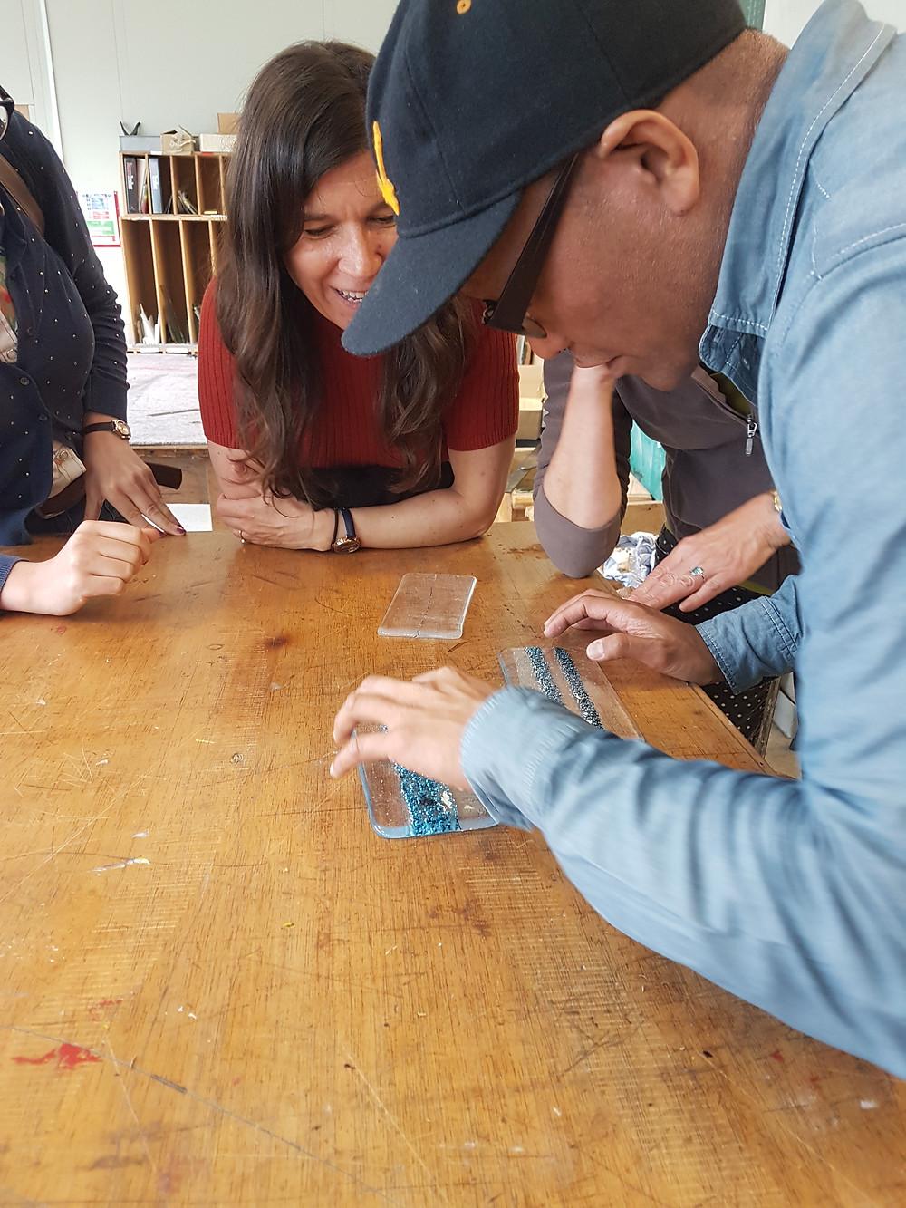 Copper powder fused in glass