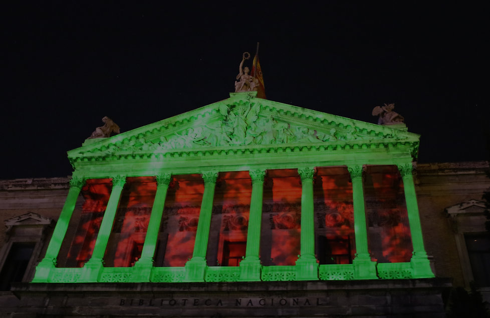 A Less Familiar History, 2016 Louise Mackenzie, Photo España 2016, Biblioteca Nacionale de España, Madrid Projection mapping: N Amalfitano, Megomotion Photo credit: L Mackenzie