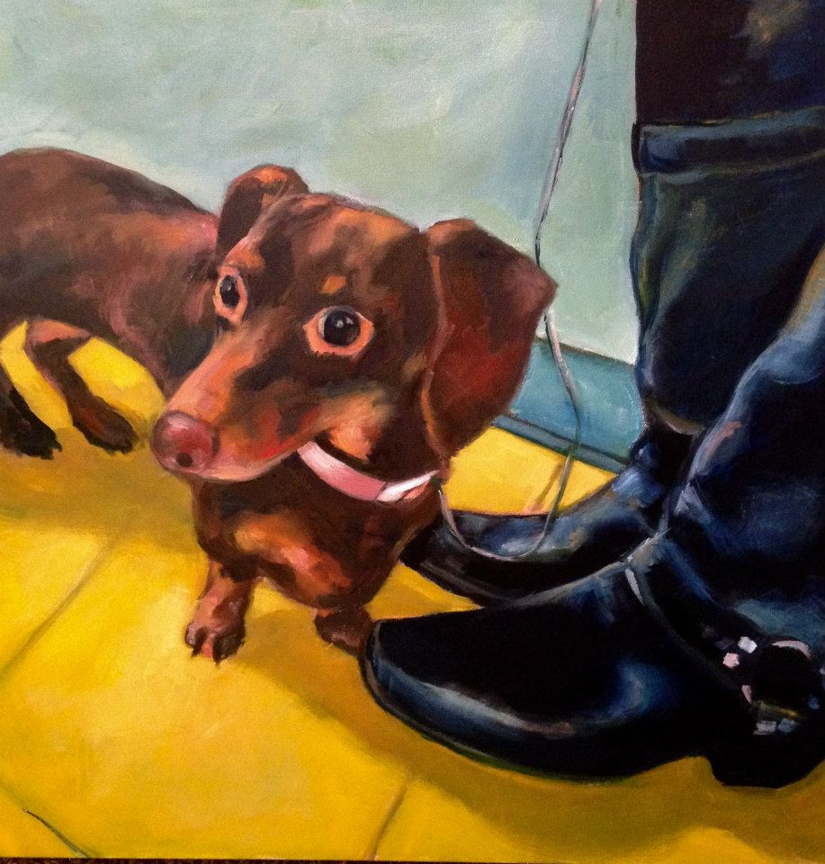 Shelby Pet Portrait 24 x 24 oil on canvas