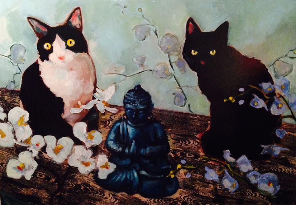 Blue Buddha Cats Pet Portrairts 26 x 20 oil on canvas