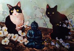 Blue Buddha Cats Pet Portrairts 26 x 20 oil on canvas