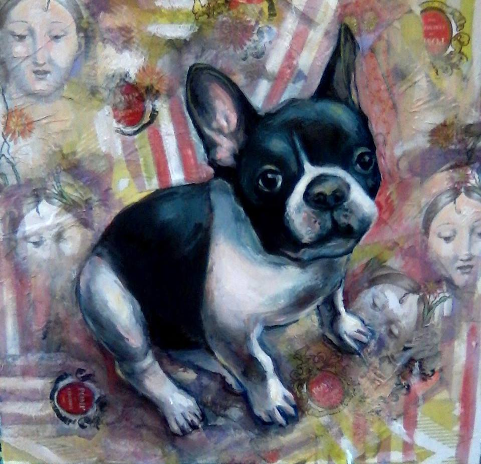 Gus the Frenchie Pet Portrait 24 x 24 inches oil, collage on canvas