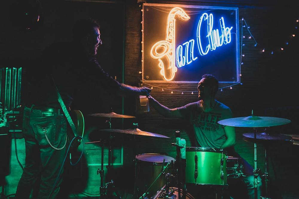 Giuseppe Scarpato e Marco Confetti durante il concerto di ieri sera al Jazz Club