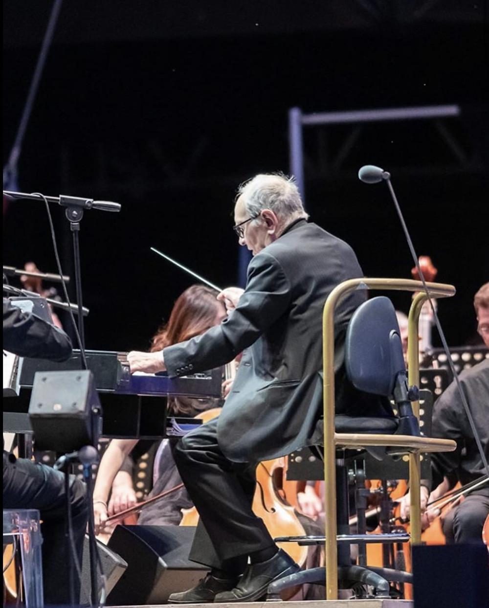 Ennio Morricone durante il concerto al Lucca Summer Festival