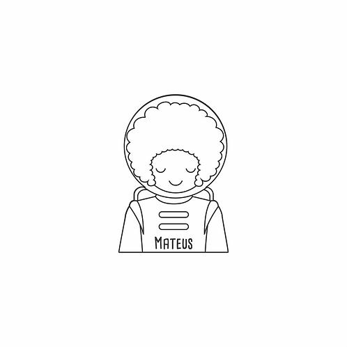Carimbo personalizado de madeira - astronauta cabelo black