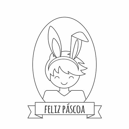 Carimbo de madeira Páscoa  - menino coelhinho