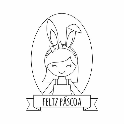 Carimbo de madeira Páscoa  - menina coelhinha