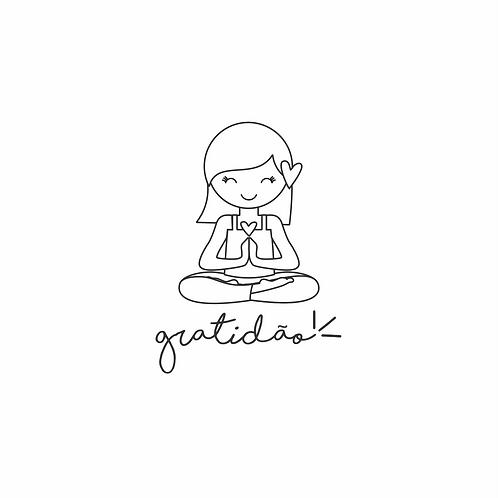 Carimbo de madeira  - gratidão