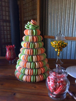 Mint, Peach and White Macaron Tower