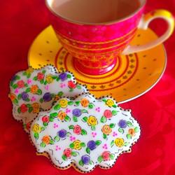 watercolour rose cookies