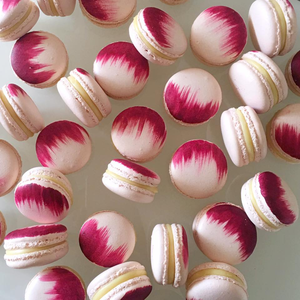 burgundy brushed macarons