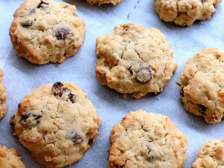Chunky fruit, oat and coconut cookies