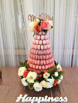 floral macaron tower