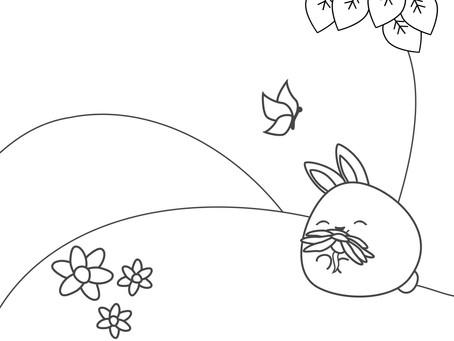 4 Rainbow Rabbits Coloring Sheets