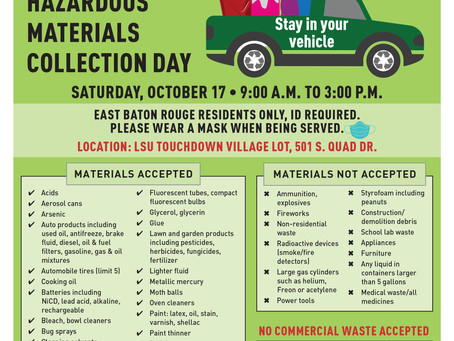 EBR Fall Household Hazardous Materials Collection Day to be held Oct. 17 at LSU Touchdown Village
