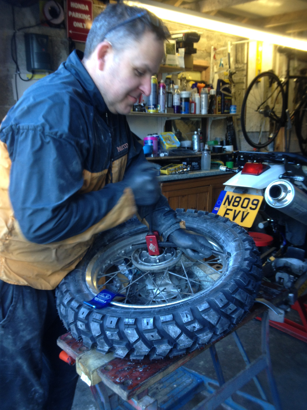 Getting the back tyre on with the Baja No Pinch Tool
