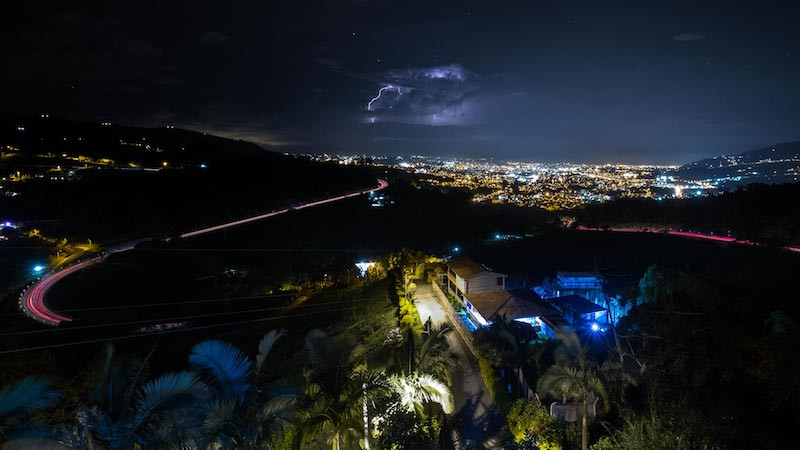 View from appartment with lightning! Photo by Michnus Olivier