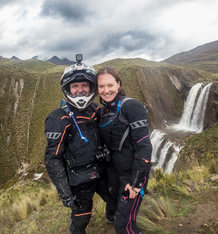Kelvin and I at a double tier waterfall near Nevado del Rajuntay - RukkaMotorsport
