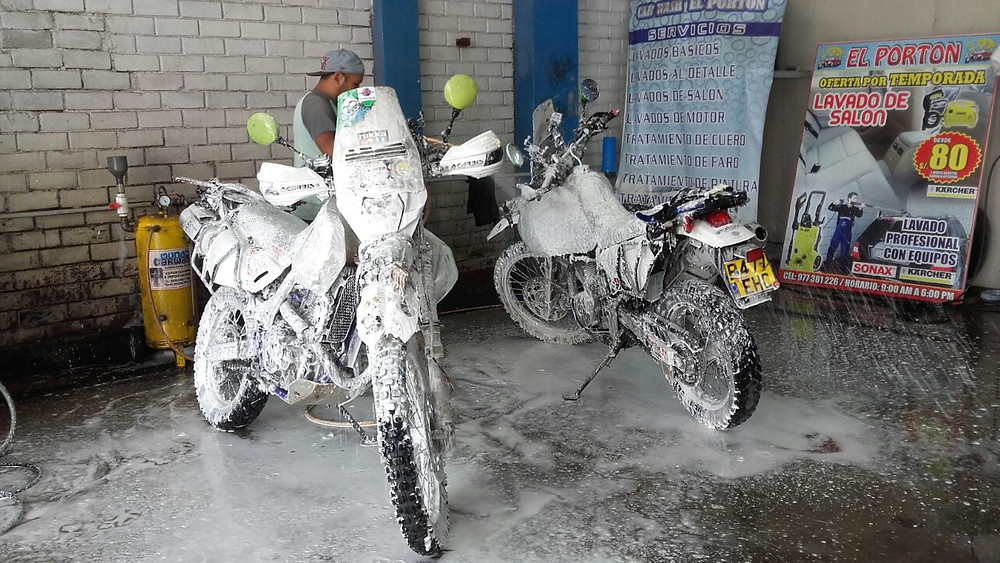 The bikes having a thorough wash at Documoto.