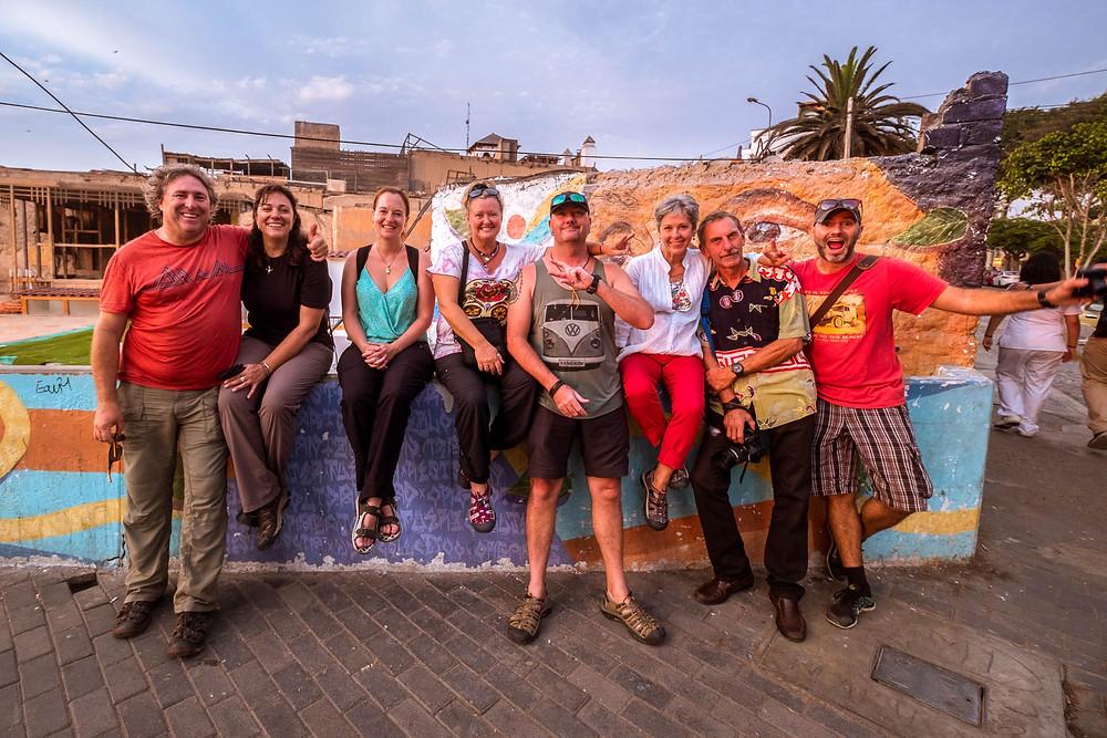 Michnus, Elsebie, Suzie, Neake, Paul, Caren, Louis and Philippe in Barranco, Lima.