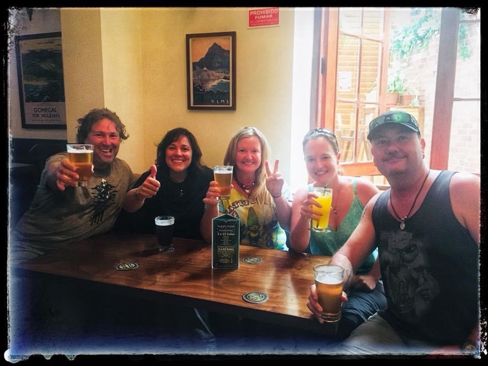 Michnus, Elsebie, Neake and Paul at Molly's bar, Lima