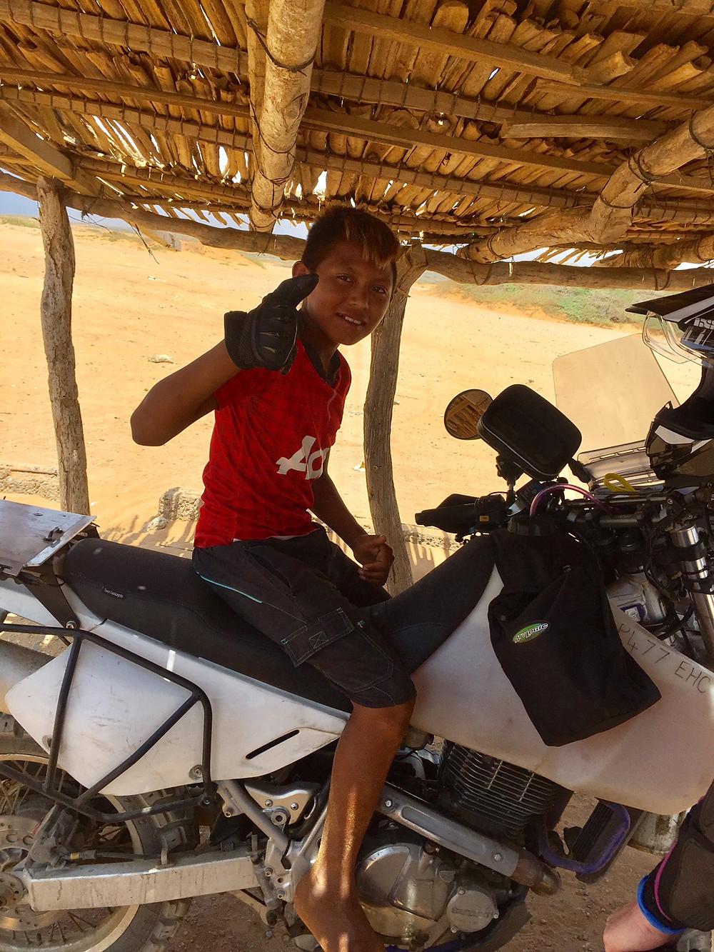 Biker-boy enjoying my bike